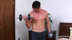 Sporty Young Hunk Charlie - Strips off and works out with weights - Then squirts for England!