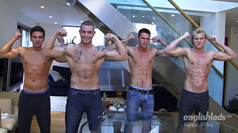Four Straight Hunks Wank Contest! Leon, Andy, Jay & Hayden