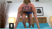 Confident Muscular Blond Stripper Marcus Shows Off His Large Uncut Cock