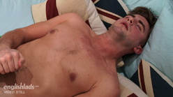 Straight Hunk Miles Pumps his Hairy Hole with a dildo for the 1st time and cums loads