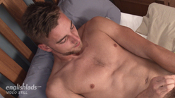 Best friends Hugo and Noah pump each other with a dildo for the first time and shoot cum all over the bedroom
