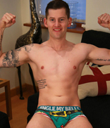 Englishlads.com: Athletic Young Adam Shows us his Muscles & Very Big 9 Inch Uncut Cock!