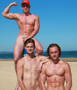 Englishlads.com: Bonus Photo Set of Jack, Damian & Aaron Playing on the Beach During the Making of the Calendar