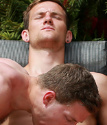 Englishlads.com: Straight Hunk Cheeky Joel's 1st Man Blow & Aaron Joins in - Three Straight Lads in the Sunshine!