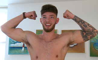 Straight Young Footballer Aaron Wanks His Uncut Cock and Shows His Hairy Hole!