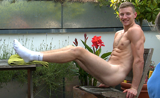 Bonus Video of Andrew's Photo Shoot - Tall, Straight Footballer Shows Off His Huge Uncut Erection