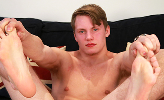 Bonus Video of Andy Mason's Photo Shoot - Young Straight Footballer with a Thick Uncut Cock & Cums Buckets!