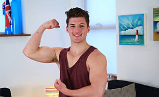 Englishlads.com: Bonus Video of Jasper's Photo Shoot - Athletic Straight Lad's Uncut Cock Explodes Big!