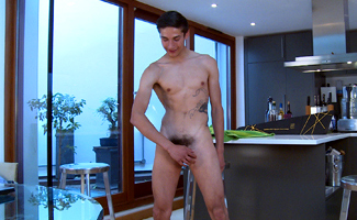 Bonus Video of Photo Shoot - Young Straight Pup Charlie & Big Uncut Cock & Winking Hole!