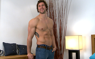 Bonus Video of Cory's Photo Shoot - Straight Rugby Stud Shows Off His Hard Muscles and Solid Uncut Cock!