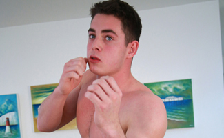Straight Young Muay Thai Boxer Damian Shows off his Big Uncut Cock & Cums Big!