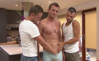 English Lads Gay Sex - 1 str8 + 2 Gay lads = loads of cum!