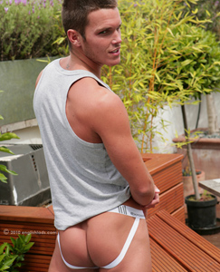 Englishlads.com: Footie Star Jay Showing off His Packed Jock Strap - And a Cock That is Never Soft!