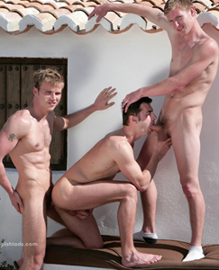 Englishlads.com: Hayden Harris fucks his first ass - Justin gets it good and hard from Liam and Hayden!