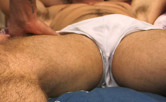 Doug Mitchell Muscular Straight Hairy Hunk Doug Lets Dan be the 1st Guy to Play with his Big Uncut Cock
