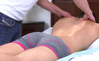 Josh Peters Muscular Straight Young Pup Josh Peter's gets his Big Uncut Cock Massaged!