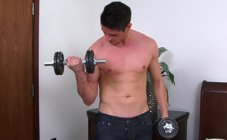 Charlie Shaw Sporty Young Hunk Charlie - Strips off and works out with weights - Then squirts for England!
