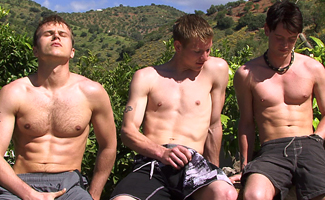 Liam James & Hayden Harris & Anthony Carson Str8 Hunk Fuck Fest - Hayden and Liam Slam into Anthony!