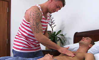 Tyler Hirst & Dan Broughton Straight Favourite Tyler Hirst sucks his First Cock - Lucky Dan gets Massaged and Blown!