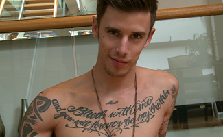 Damian Olsen Tall & Tattood Straight Lad Damian Shows off His Impressive Uncut Cock & Squirts Loads!