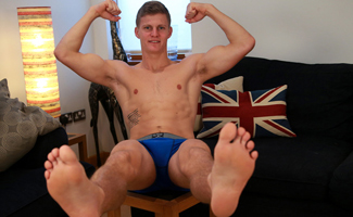 South African Hunk Greg Shows off his Rock Hard Cock and Hairy Hole