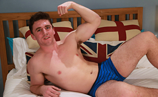 Englishlads.com: Horny Rugby Hunk Louis Shows Off His Hairy Body and Wanks His Uncut Cock Until he Cums!