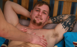 Straight Hunk Ralph gets his 1st Man Blow Job & Squirts Loads!