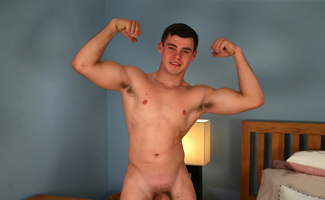 Muscular Young Lad Jacob Shows off his Chunky Uncut Cock and Hairy Hole!