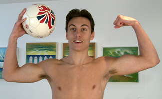 Straight Footballer Jason Shows off His Toned Body & Big Uncut Cock!