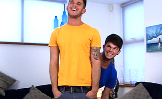 while shooting load gay porn Brit lad Oli Jay is