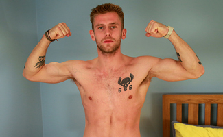 Bonus Video of Jenson Shaw's Photo Shoot - Toned Young Boxer Shows off his Big Uncut Cock!
