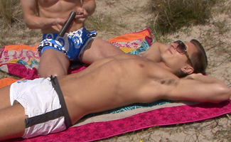 Straight Lad Bradley Sunbathing - Before long he is Manhandled & Sucked by a Guy for his First time!