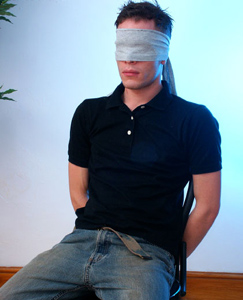 Englishlads.com: Kevin gets blindfolded and tied up - he seems to like it...!