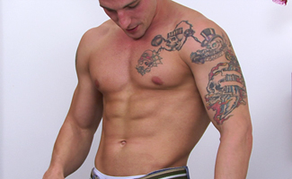 Muscular Str8 Pup Lance - Rips off his Clothes  - Every Muscle is Massive