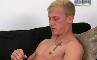 Straight Hunk Max Wanks his Huge Uncut Cock and Cums on his Abs!