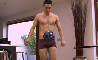Straight Footballing Professional Miles Shows off His Erection While Doing Balls Tricks!