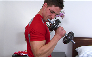 Englishlads.com: Muscular Pup Lance - Working out his Muscles and Pumping his Hole!