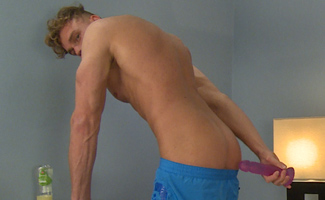 Bonus Video of Noah Miller's Photo Set - Tall & Muscular Lad Pumps his Hole with a Dildo & Cum Explosion!