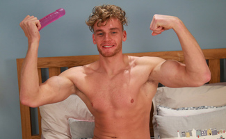 Super Horny Hunk Noah Pumps His Hole With a Dildo for the 1st Time and Cums Buckets!