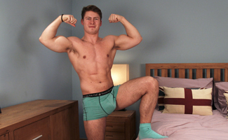 Straight Horny Rugby Hunk Oli Shows off his Big Muscles and Big Uncut Cock amd Cums Everywhere!