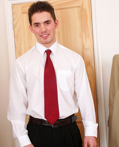 Englishlads.com: Sexy straight stud Jerry returns in a suit and pulls his cock straight out for a play