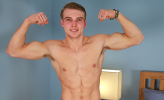 Englishlads.com: Straight Athlete James Shows off his Muscles & Massive Uncut Cock!