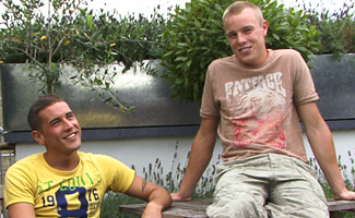 Englishlads.com: Straight Young Pup Chris Little Dives in for His First Man Kiss - How Hot... and Wet!