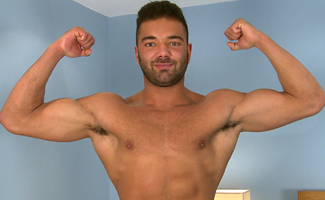 Englishlads.com: Tall & Muscular Stripper George Shows His Muscles & Big Thick Uncut Cock!