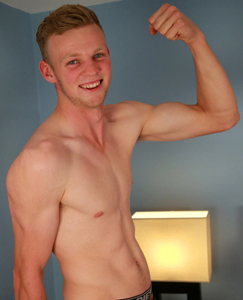 Englishlads.com: Tall & Straight Blond Gentle Giant Jordan Shows his Muscles & Ultra Hard Uncut Cock!