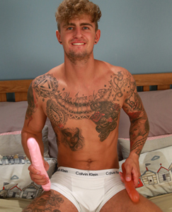 Englishlads.com: Tall & Toned Straight Footballer Danny Entertains us by Pumping his Hole with a Dildo!