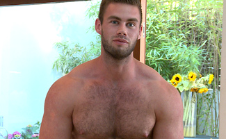 Muscular Young Pup Tom Strips & Shows off His Very Hairy Body, soon Covered in Cum!