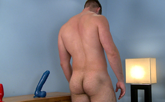 Muscular Straight Lad Tom Pumps his Very Hairy Hole with a Few Toys!