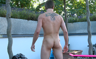 Lean & Ultra Ripped Str8 Boarder Troy Shows off his Uncut Rocket Cock in the Sun!
