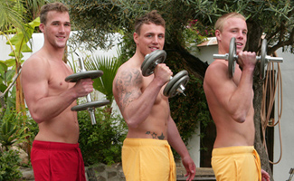 Englishlads.com: Tyler, Chris & Rich - Three Straight Hunks Playing in the Sunshine